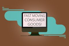 Writing note showing Fast Moving Consumer Goods. Business photo showcasing High volume of purchases Consumerism retail. Mounted Computer Monitor Blank Reflected vector illustration