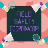 Writing note showing Field Safety Coordinator. Business photo showcasing Ensure compliance with health and safety standards Hu. Analysis Hands Holding royalty free stock photo