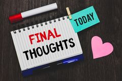 Writing note showing Final Thoughts. Business photo showcasing Conclusion Last Analysis Recommendations Finale of idea Open notebo. Ok pin holding reminder stock image