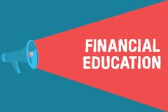 Writing note showing Financial Education. Business photo showcasing Understanding Monetary areas like Finance and. Investing royalty free illustration