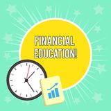 Writing note showing Financial Education. Business photo showcasing Understanding Monetary areas like Finance and. Writing note showing Financial Education stock illustration