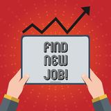 Writing note showing Find New Job. Business photo showcasing Searching for new career opportunities Solution to. Unemployment royalty free illustration