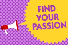 Writing note showing Find Your Passion. Business photo showcasing Seek Dreams Find best job or activity do what you love Multiline. Text purple bubble pattern Stock Photo