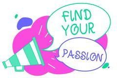 Writing note showing Find Your Passion. Business photo showcasing Seek Dreams Find best job or activity do what you love Creative. Multiple bubble cloudy curly Royalty Free Stock Photo