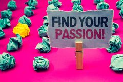 Writing note showing  Find Your Passion Motivational Call. Business photo showcasing encourage people find their dream Emerald pap. Er balls yellow lump rosy Royalty Free Stock Photo