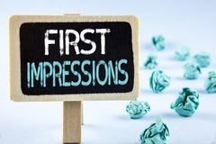 Writing note showing  First Impressions. Business photo showcasing Encounter presentation performance job interview courtship writ. Ten Wooden Notice Board plain Royalty Free Stock Image