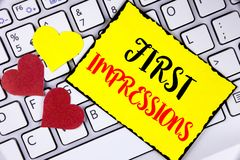 Writing note showing  First Impressions. Business photo showcasing Encounter presentation performance job interview courtship writ. Ten Yellow Sticky Note Paper Royalty Free Stock Photos
