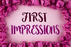 Writing note showing  First Impressions. Business photo showcasing Encounter presentation performance job interview courtship writ. Ten plain background within Stock Photography