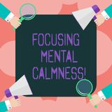 Writing note showing Focusing Mental Calmness. Business photo showcasing free the mind from agitation or any disturbance. Hu analysis Hands Holding Magnifying stock illustration