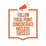 Writing note showing Follow Focal Point Concentrate Nucleus Success. Business photo showcasing Concentration look for target Megap. Hone loudspeaker orange frame stock illustration