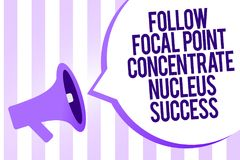 Writing note showing Follow Focal Point Concentrate Nucleus Success. Business photo showcasing Concentration look for target Megap. Hone loudspeaker purple royalty free illustration