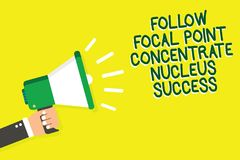 Writing note showing Follow Focal Point Concentrate Nucleus Success. Business photo showcasing Concentration look for target Man h. Olding megaphone loudspeaker royalty free illustration