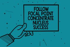 Writing note showing Follow Focal Point Concentrate Nucleus Success. Business photo showcasing Concentration look for target Man h. And holding paper royalty free illustration