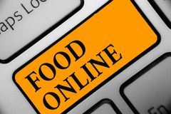 Writing note showing Food Online. Business photo showcasing asking for something to eat using phone app or website Keyboard orange. Key Intention computer Stock Images