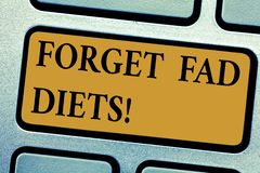 Writing note showing Forget Fad Diets. Business photo showcasing drop pounds due unhealthy calorie reduction or water. Loss Keyboard key Intention to create royalty free stock photos