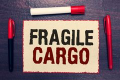 Writing note showing Fragile Cargo. Business photo showcasing Breakable Handle with Care Bubble Wrap Glass Hazardous Goods Open no. Tebook page markers stock images
