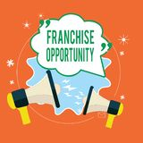 Writing note showing Franchise Opportunity. Business photo showcasing Business License Privilege Owner to Dealer. Affiliation stock illustration