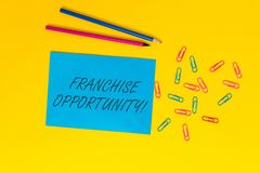 Writing note showing Franchise Opportunity. Business photo showcasing Business License Privilege Owner to Dealer. Writing note showing Franchise Opportunity stock images
