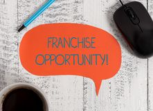Writing note showing Franchise Opportunity. Business photo showcasing Business License Privilege Owner to Dealer. Writing note showing Franchise Opportunity royalty free stock photo
