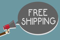 Writing note showing Free Shipping. Business photo showcasing Freight Cargo Consignment Lading Payload Dispatch Cartage Man holdin. G megaphone loudspeaker royalty free illustration