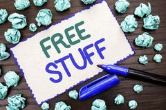 Writing note showing Free Stuff. Business photo showcasing Complementary Free of Cost Chargeless Gratis Costless Unpaid written o. Writing note showing Free royalty free stock image