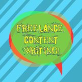 Writing note showing Freelance Content Writing. Business photo showcasing online writing linked to web marketing campaign Blank. Speech Bubble photo and Stack stock images