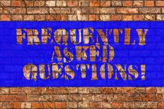 Writing note showing Frequently Asked Questions. Business photo showcasing most common inquiries Informations Help Guide Brick. Wall art like Graffiti royalty free stock photography