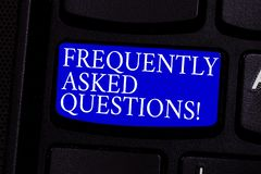 Writing note showing Frequently Asked Questions. Business photo showcasing most common inquiries Informations Help Guide. Keyboard key Intention to create royalty free stock photo