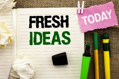 Writing note showing  Fresh Ideas. Business photo showcasing Creative Vision Thinking Imagination Concept Strategy  written on Not Royalty Free Stock Photography
