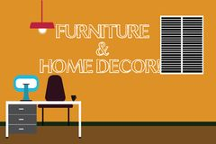 Writing note showing Furniture And Home Decor. Business photo showcasing Interior design creative modern house royalty free illustration