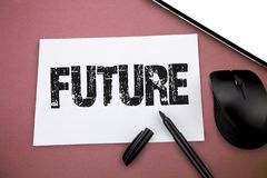 Writing note showing Future. Business photo showcasing period of time following moment of speaking or writing Next day.  stock image