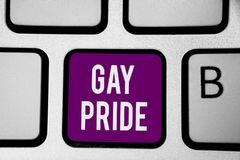Writing note showing Gay Pride. Business photo showcasing Dignity of an idividual that belongs to either a man or woman Keyboard p. Urple key Intention computer stock photo