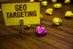 Writing note showing Geo Targeting. Business photo showcasing Digital Ads Views IP Address Adwords Campaigns Location Clothespin h. Olding yellow paper note royalty free stock images
