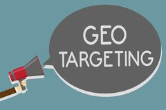 Writing note showing Geo Targeting. Business photo showcasing Digital Ads Views IP Address Adwords Campaigns Location Man holding vector illustration