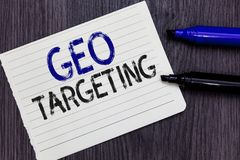 Writing note showing Geo Targeting. Business photo showcasing Digital Ads Views IP Address Adwords Campaigns Location Notebook Pap. Er Reminder Communicating stock photography