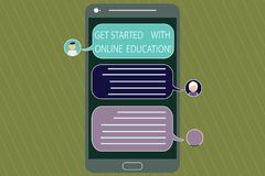 Writing note showing Get Started With Online Education. Business photo showcasing Initiate Elearning modern learning Mobile. Messenger Screen with Chat Heads royalty free illustration