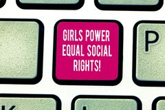 Writing note showing Girls Power Equal Social Rights. Business photo showcasing Feminism men and women gender equality. Keyboard key Intention to create royalty free stock photos
