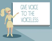 Writing note showing Give Voice To The Voiceless. Business photo showcasing Speak out on Behalf Defend the Vulnerable.  royalty free illustration