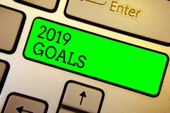 Writing note showing 2019 Goals. Business photo showcasing A plan to do for something new and better for the coming year Keyboard. Green key Intention computer stock photo