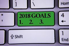 Writing note showing 2018 Goals 1. 2. 3.. Business photo showcasing Resolution Organize Beginnings Future Plans Modern silvery co. Lor keyboard green button with royalty free stock images