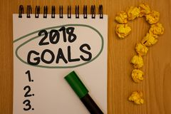 Writing note showing 2018 Goals 1. 2. 3.. Business photo showcasing Resolution Organize Beginnings Future Plans Notepad rotund bl. Ack words green pen woody desk stock image