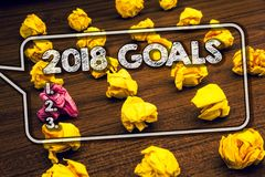 Writing note showing 2018 Goals 1. 2. 3.. Business photo showcasing Resolution Organize Beginnings Future Plans Timbered ground s. Erially laid yellow paper royalty free stock photography