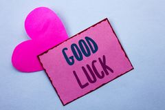 Writing note showing  Good Luck. Business photo showcasing Lucky Greeting Wish Fortune Chance Success Feelings Blissful written on. Writing note showing  Good Royalty Free Stock Image