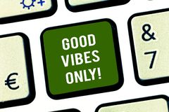 Writing note showing Good Vibes Only. Business photo showcasing Just positive emotions feelings No negative energies. Keyboard key Intention to create computer royalty free stock image