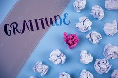 Writing note showing  Gratitude. Business photo showcasing Quality of being thankful Appreciation Thankfulness Acknowledge written. Painted background Crumpled Stock Photo