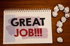 Writing note showing  Great Job Motivational Call. Business photos showcasing Excellent work Well done Good results Compliment. Writing note showing  Great Job Royalty Free Stock Photo