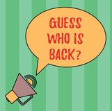 Writing note showing Guess Who Is Back. Business photo showcasing Game surprise asking wondering curiosity question Oval. Outlined Speech Bubble Text Balloon royalty free illustration
