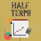 Writing note showing Half Term. Business photo showcasing Short holiday in the middle of the periods school year is divided. Writing note showing Half Term stock illustration