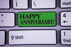 Writing note showing Happy Anniversary Motivational Call. Business photo showcasing Annual Special Milestone Commemoration Modern. Silvery color keyboard green royalty free stock photography