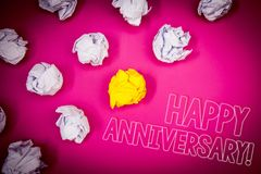 Writing note showing Happy Anniversary Motivational Call. Business photo showcasing Annual Special Milestone Commemoration Pink g. Round white paper lumps shadow royalty free stock images